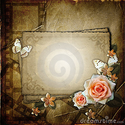 Vintage background with paper card
