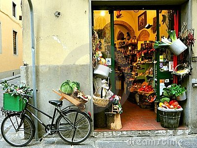 Typical grocery shop in Italy