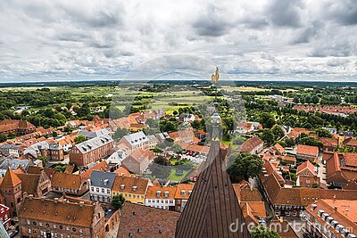 Top view of the oldest Danish town Ribe in southern Denmark