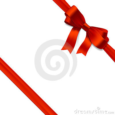 Red gift bow with ribbon