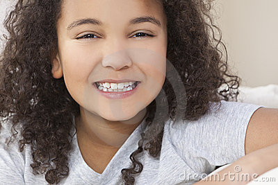 Happy Mixed Race African American Girl Child