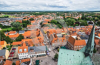 Ribe, Denmark: Top view of the oldest Danish town Ribe in southern Denmark