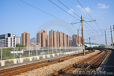 Tuen Mun downtown and railway of light rail