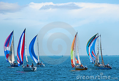 Sailboat race with colorful sails on the sailboats