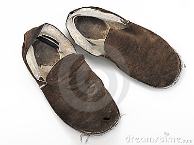 A pair of old, ratty house slippers