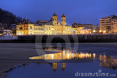 Donostia/San Sebastian City Hall at night, Spain