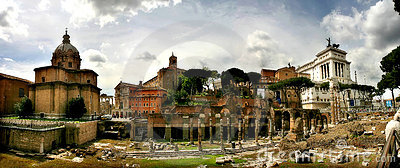 Panoramic view on ancient ruins in Rome, Italy.