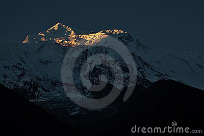 Sunrise of snow mountain in Nepal