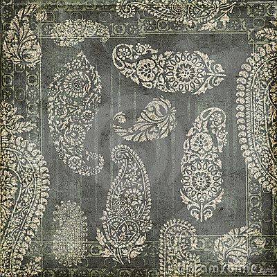 Antique Grungy Vintage paisley indian background