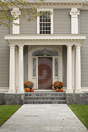 Front Door with Front Porch and Pillars