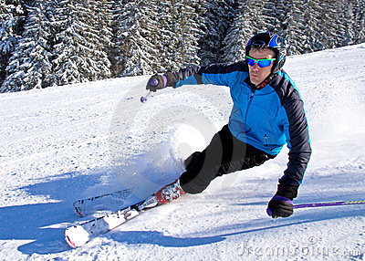 A skier is carving