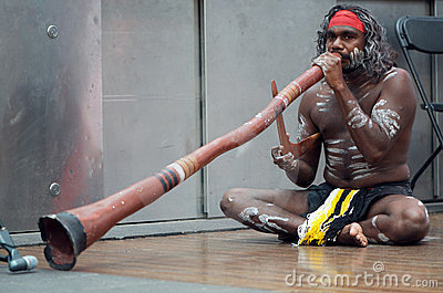 Aboriginal Didgeridoo Player