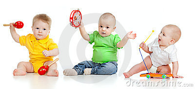 Children playing with musical toys