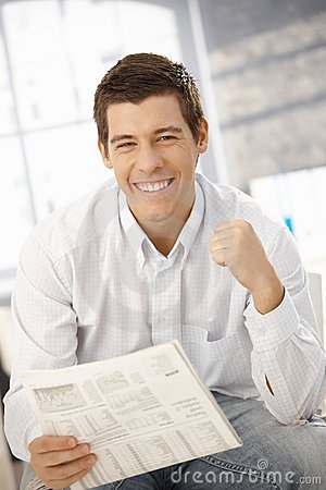 Portrait of man happy about news