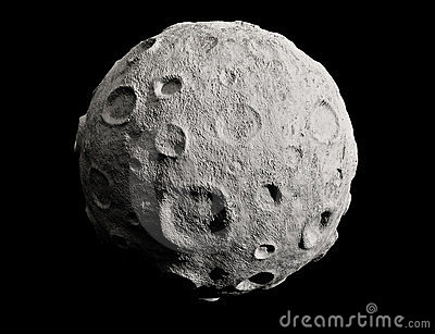 Moon and craters. Asteroid.