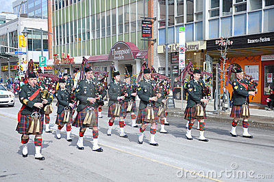 Military Bagpipers in Saint Patrick's Day parade