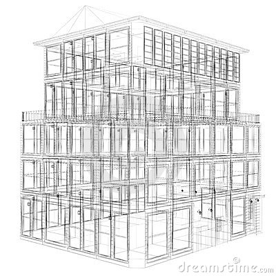 perspective view of wireframe building