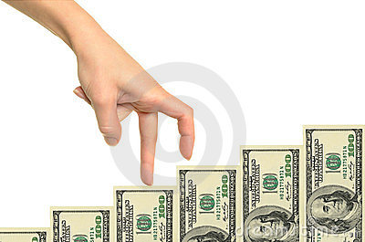 Female hand and money staircase