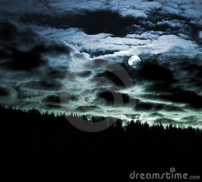 Moon and cloudscape at night