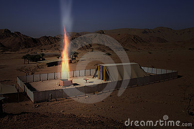 Biblical Tabernacle Model with the altar burning