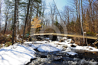 A foot bridge over a snow covered brook