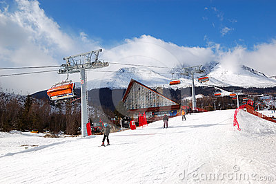 Tatranska Lomnica is ski resort in High Tatras