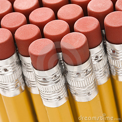 Group of pencil erasers.