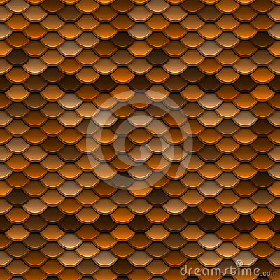 Golden Orange Scales Seamless Pattern