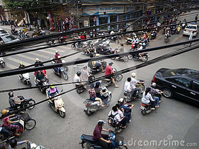 Typical traffic jam on crossroad in the Hanoi