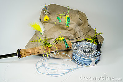 Fishing Hat with Fly Rod and Reel with Bass Flies