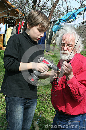 Boy and grandfather