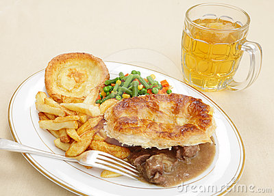 Steak and kidney pie meal