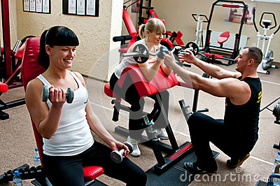 stock image of women in fitness club