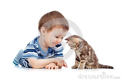 Kid playing with cat pet