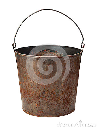 Old Rusty Bucket isolated with clipping path