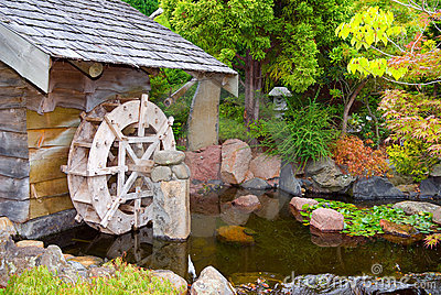 Old Hut with Waterwheel