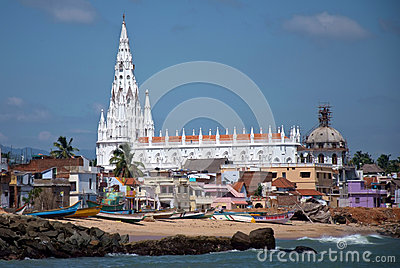 Sea view of white gothic cathedral