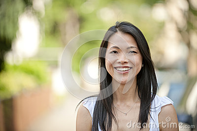Portrait of a japanese woman outdoors