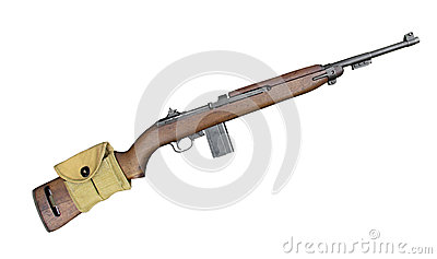 Vintage military carbine rifle isolated.