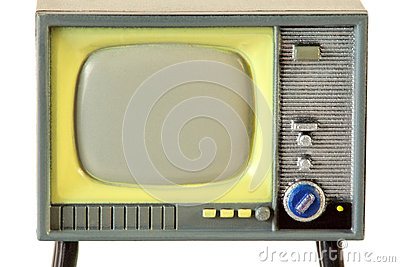 Screen of little retro television isolated