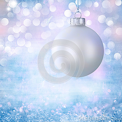 Vintage White Christmas Ball Ornament Over Grunge