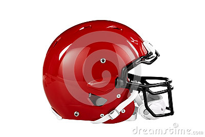 Red Football Helmet Side View