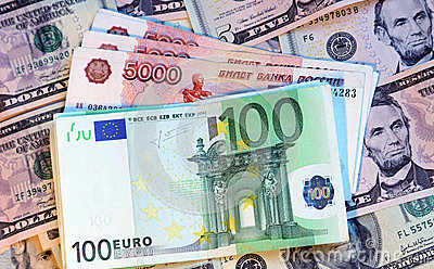 Dollars, euros and modern russian roubles