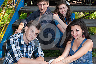 Group of Young people posing outdoors