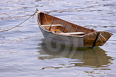 Wooden row boat