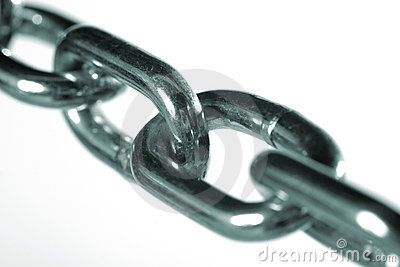 Close up of steel chain links