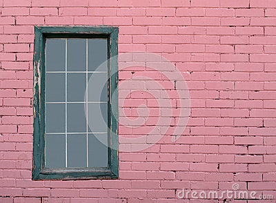 Pink brick wall and window