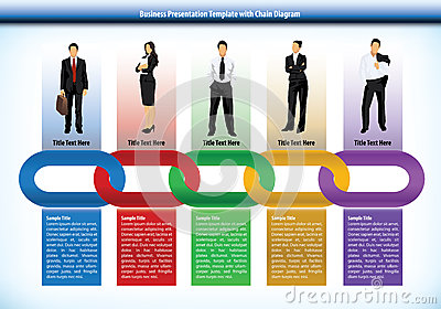 Business presentation template with chain