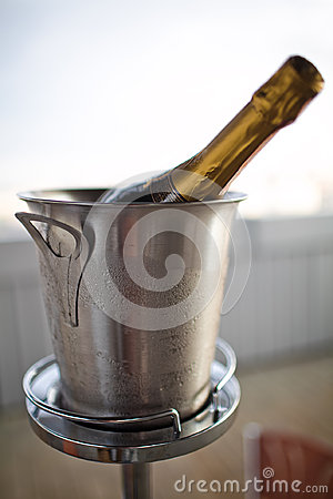 Champagne in a ice bucket
