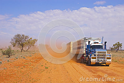 Road Train Kicking up Dust
